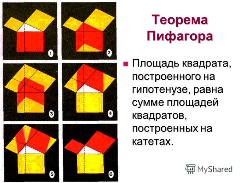 Теорема Пифагора Площадь квадрата, построенного на гипотенузе, равна сумме площадей квадратов, построенных на катетах. Площадь квадрата, построенного на гипотенузе, равна сумме площадей квадратов, построенных на катетах.