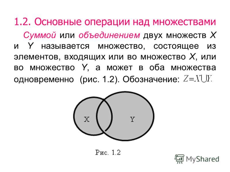 1.2. Основные операции над множествами Суммой или объединением двух множеств Х и Y называется множество, состоящее из элементов, входящих или во множество Х, или во множество Y, а может в оба множества одновременно (рис. 1.2). Обозначение: