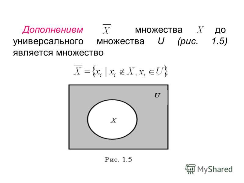 Дополнением множества до универсального множества U (рис. 1.5) является множество