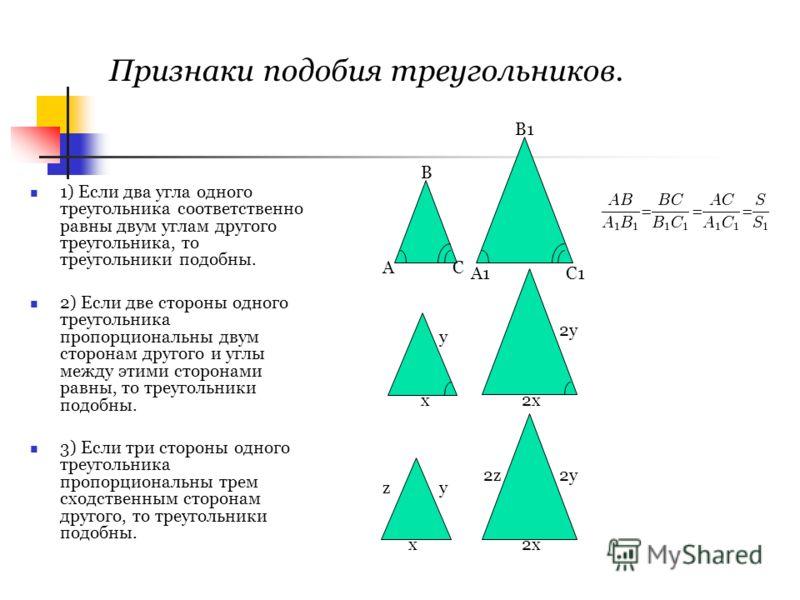 Признаки подобия треугольников. 1) Если два угла одного треугольника соответственно равны двум углам другого треугольника, то треугольники подобны. 2) Если две стороны одного треугольника пропорциональны двум сторонам другого и углы между этими сторо