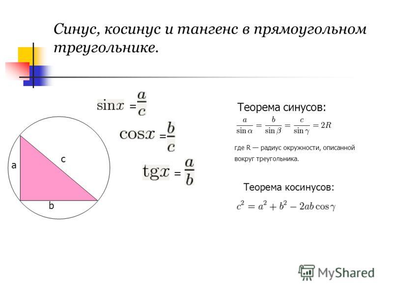 Синус, косинус и тангенс в прямоугольном треугольнике. с b a = = = Теорема синусов: где R радиус окружности, описанной вокруг треугольника. Теорема косинусов: