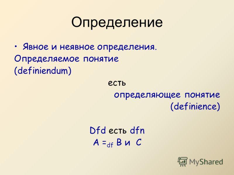 Определение Явное и неявное определения. Определяемое понятие (definiendum) есть определяющее понятие (definience) Dfd есть dfn A = df B и C