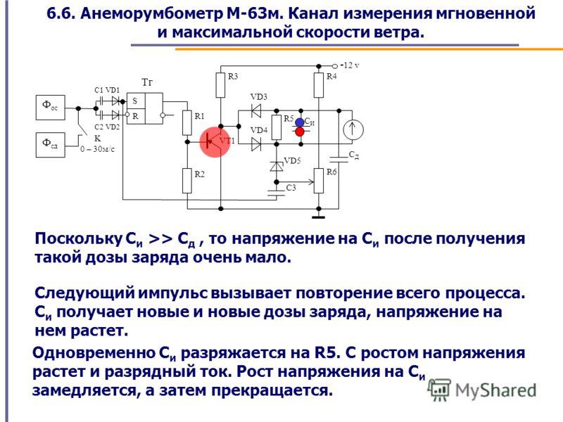 6.6. Анеморумбометр М-63м. Канал измерения мгновенной и максимальной скорости ветра. Поскольку С и >> C д, то напряжение на С и после получения такой дозы заряда очень мало. Следующий импульс вызывает повторение всего процесса. С и получает новые и н