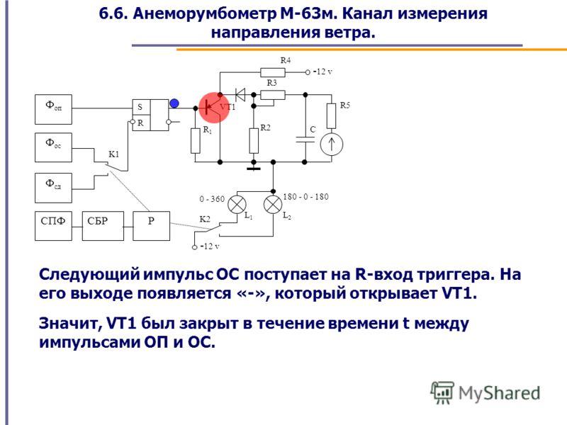 6.6. Анеморумбометр М-63м. Канал измерения направления ветра. VT1 L1L1 L2L2 VDVD C R4 R3 R2 R1R1 K1 Ф оп Ф ос Ф сд R S СПФ R5 СБР K2 180 - 0 - 180 0 - 360 - 12 v Р Следующий импульс ОС поступает на R-вход триггера. На его выходе появляется «-», котор