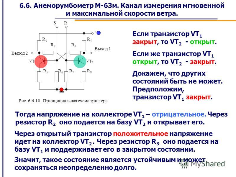 6.6. Анеморумбометр М-63м. Канал измерения мгновенной и максимальной скорости ветра. S R Выход 2 Выход 1 R3R3 VT 2 VT 1 R2R2 R1R1 R8R8 R7R7 R6R6 R5R5 R4R4 - Рис. 6.6.10. Принципиальная схема триггера. Если транзистор VT 1 закрыт, то VT 2 - открыт. Ес