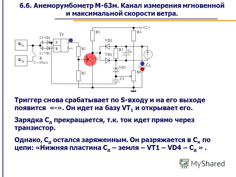 6.6. Анеморумбометр М-63м. Канал измерения мгновенной и максимальной скорости ветра. Триггер снова срабатывает по S-входу и на его выходе появится «-». Он идет на базу VT 1 и открывает его. Зарядка С д прекращается, т.к. ток идет прямо через транзист