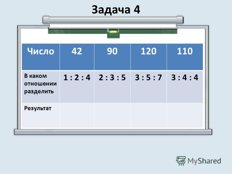 Число4290120110 В каком отношении разделить 1 : 2 : 42 : 3 : 53 : 5 : 73 : 4 : 4 Результат Задача 4