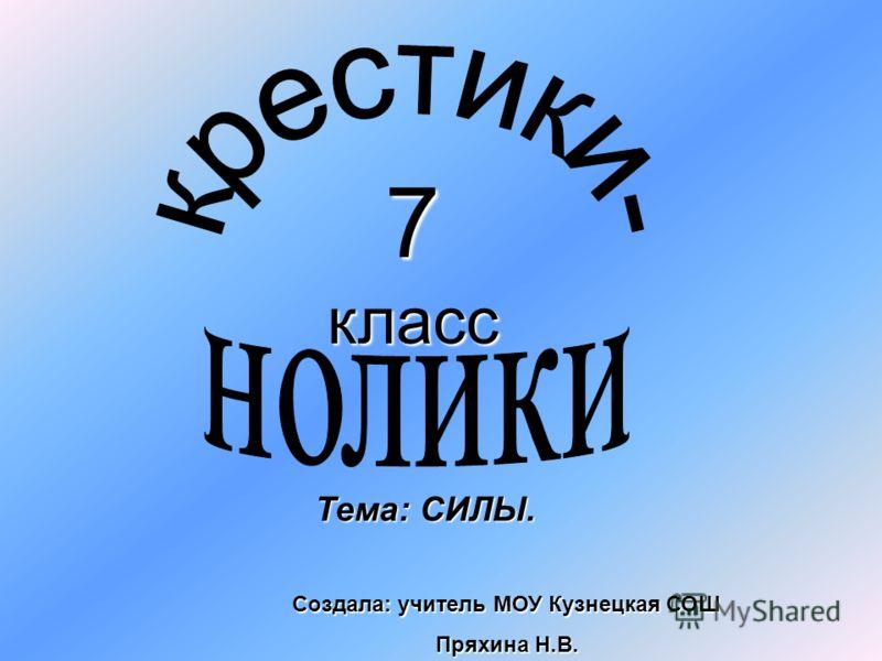 7 класс Тема: СИЛЫ. Создала: учитель МОУ Кузнецкая СОШ Пряхина Н.В.