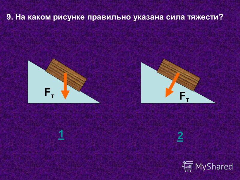 9. На каком рисунке правильно указана сила тяжести? FтFт FтFт 1 2