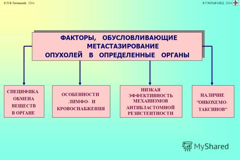 ФАКТОРЫ, ОБУСЛОВЛИВАЮЩИЕ МЕТАСТАЗИРОВАНИЕ ОПУХОЛЕЙ В ОПРЕДЕЛЕННЫЕ ОРГАНЫ ОСОБЕННОСТИ ЛИМФО- И КРОВОСНАБЖЕНИЯ НИЗКАЯ ЭФФЕКТИВНОСТЬ МЕХАНИЗМОВ АНТИБЛАСТОМНОЙ РЕЗИСТЕНТНОСТИ СПЕЦИФИКА ОБМЕНА ВЕЩЕСТВ В ОРГАНЕ НАЛИЧИЕ