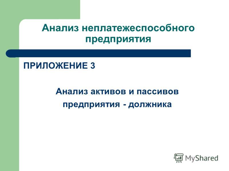 Анализ неплатежеспособного предприятия ПРИЛОЖЕНИЕ 3 Анализ активов и пассивов предприятия - должника