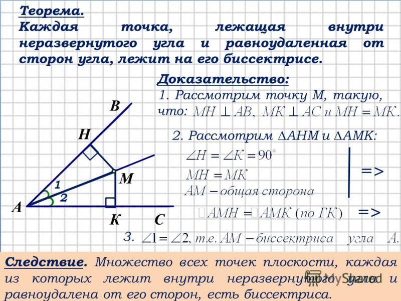 Теорема. Каждая точка, лежащая внутри неразвернутого угла и равноудаленная от сторон угла, лежит на его биссектрисе. С А В К M H 1 2 Доказательство: 1. Рассмотрим точку М, такую, что: 2. Рассмотрим АНМ и АМК: =>=> =>=> 3. Следствие. Множество всех то