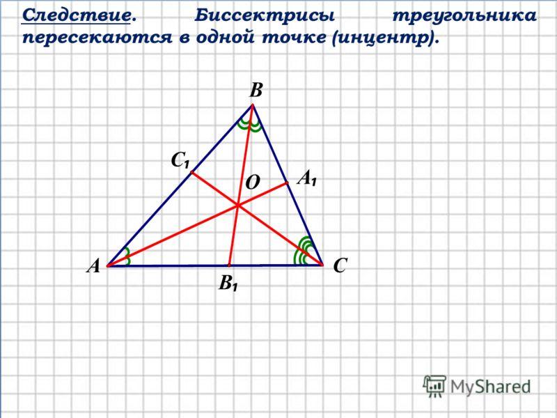 Следствие. Биссектрисы треугольника пересекаются в одной точке (инцентр). СА В С А В О