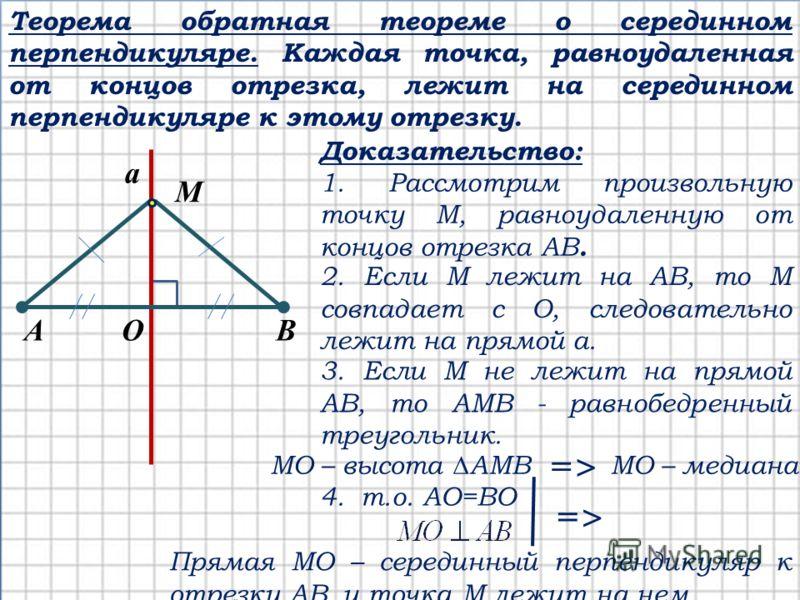 Теорема обратная теореме о серединном перпендикуляре. Каждая точка, равноудаленная от концов отрезка, лежит на серединном перпендикуляре к этому отрезку. M Доказательство: 1. Рассмотрим произвольную точку М, равноудаленную от концов отрезка АВ. 2. Ес