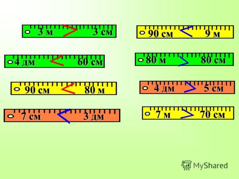 90 см 9 м 3 м 3 см 7 м 70 см 7 см 3 дм 90 см 80 м 4 дм 60 см 4 дм 5 см 80 м 80 см