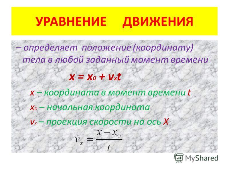 УРАВНЕНИЕ ДВИЖЕНИЯ – определяет положение (координату) тела в любой заданный момент времени х = х 0 + v х t х – координата в момент времени t х 0 – начальная координата v х – проекция скорости на ось Х
