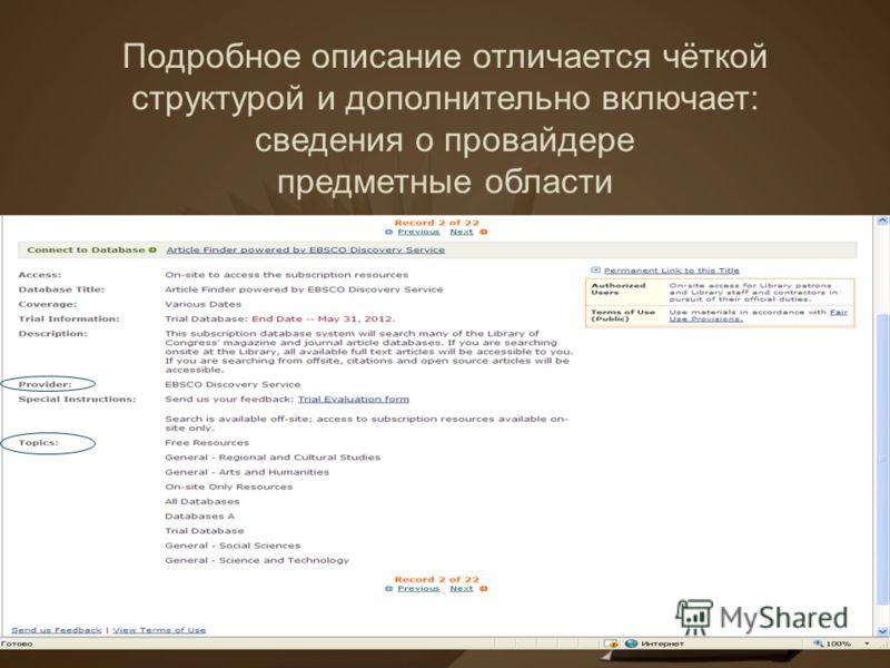 Подробное описание отличается чёткой структурой и дополнительно включает: сведения о провайдере предметные области