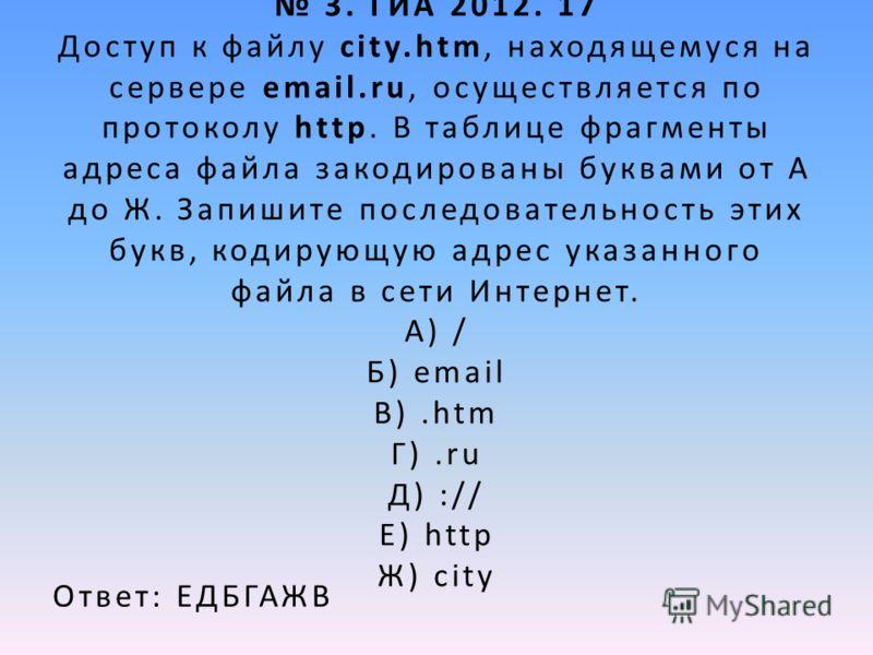 3. ГИА 2012. 17 Доступ к файлу city.htm, находящемуся на сервере email.ru, осуществляется по протоколу http. В таблице фрагменты адреса файла закодированы буквами от А до Ж. Запишите последовательность этих букв, кодирующую адрес указанного файла в с