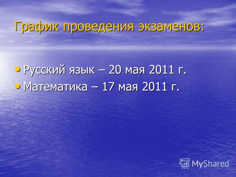 График проведения экзаменов: Русский язык – 20 мая 2011 г. Русский язык – 20 мая 2011 г. Математика – 17 мая 2011 г. Математика – 17 мая 2011 г.