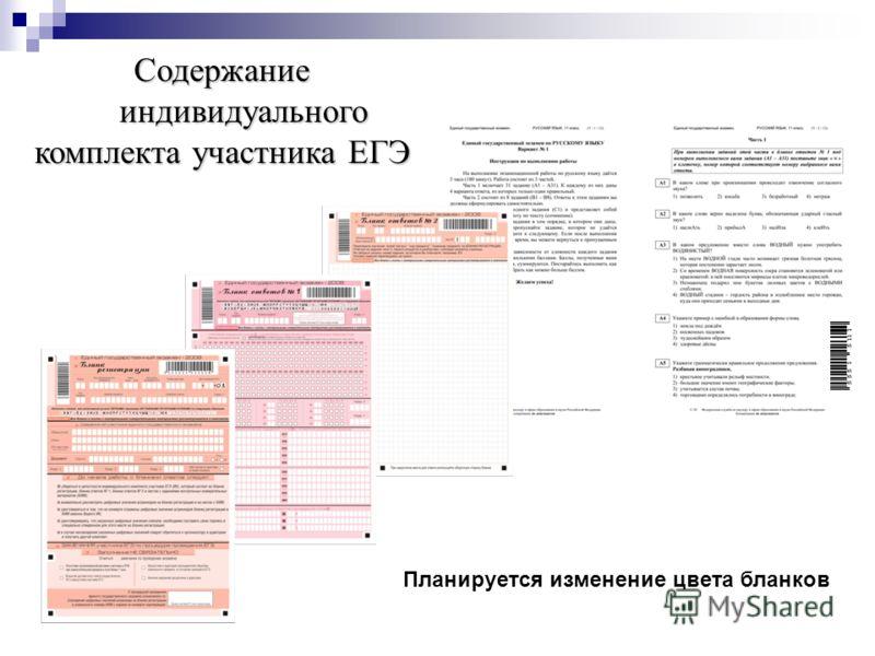 Содержание индивидуального комплекта участника ЕГЭ Планируется изменение цвета бланков