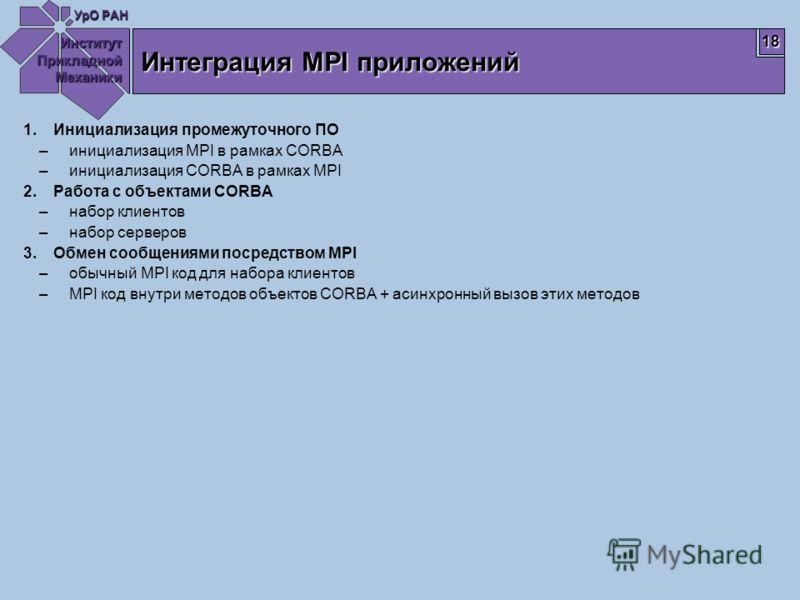 Институт Прикладной Механики УрО РАН 18 Интеграция MPI приложений 1.Инициализация промежуточного ПО –инициализация MPI в рамках CORBA –инициализация CORBA в рамках MPI 2.Работа с объектами CORBA –набор клиентов –набор серверов 3.Обмен сообщениями пос