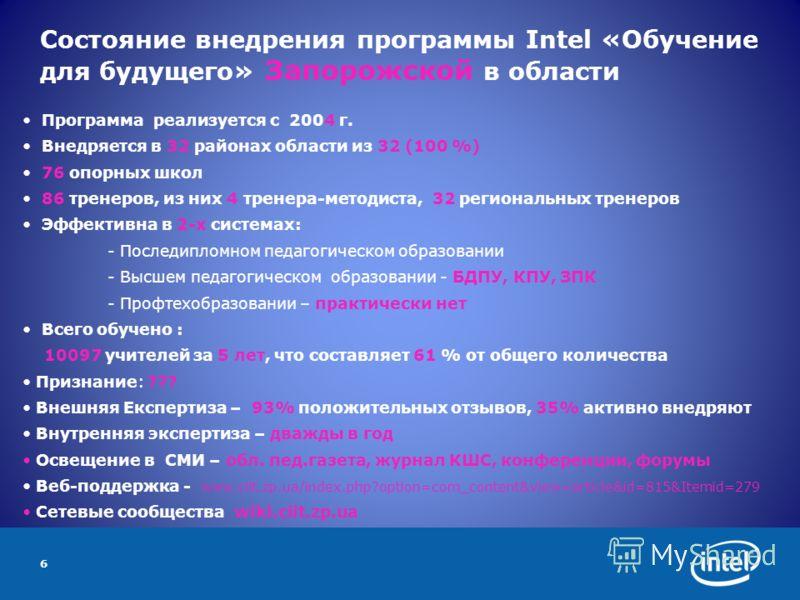 6 Состояние внедрения программы Intel «Обучение для будущего» Запорожской в области Программа реализуется с 2004 г. Внедряется в 32 районах области из 32 (100 %) 76 опорных школ 86 тренеров, из них 4 тренера-методиста, 32 региональных тренеров Эффект