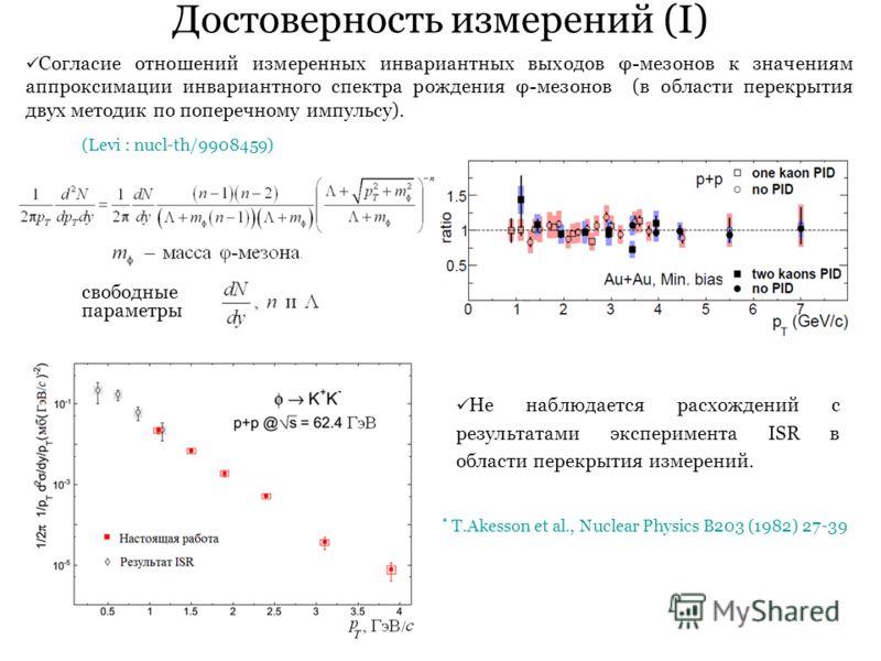 Достоверность измерений (I) * T.Akesson et al., Nuclear Physics B203 (1982) 27-39 Согласие отношений измеренных инвариантных выходов φ-мезонов к значениям аппроксимации инвариантного спектра рождения φ-мезонов (в области перекрытия двух методик по по