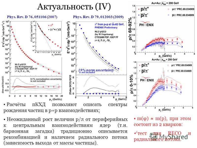 Актуальность (IV) 19% norm uncertainty Phys. Rev. D 79, 012003 (2009)Phys. Rev. D 76, 051106 (2007) Расчёты пКХД позволяют описать спектры рождения частиц в p+p взаимодействиях; Неожиданный рост величин p/π от периферийных к центральным взаимодействи