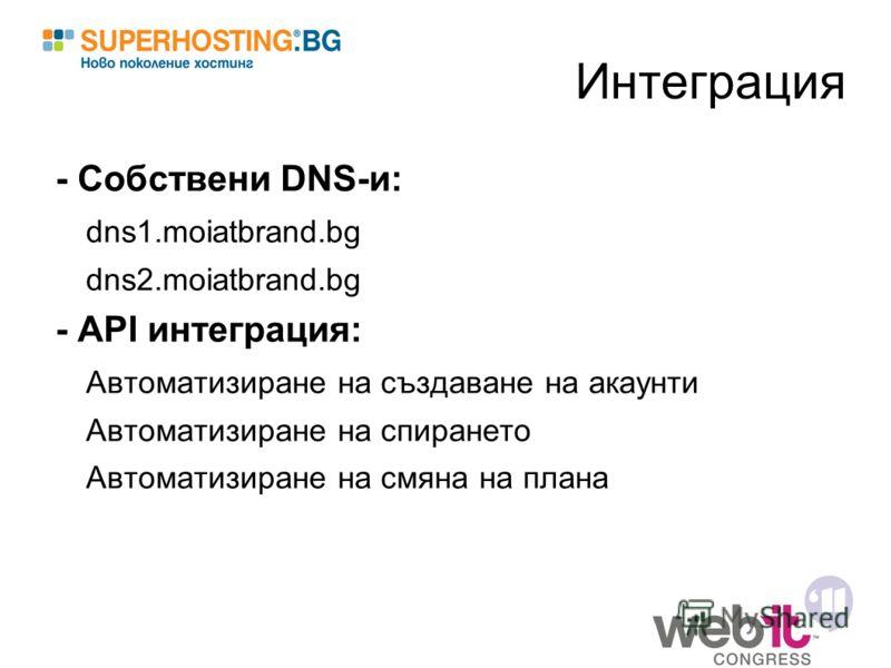 Интеграция - Собствени DNS-и: dns1.moiatbrand.bg dns2.moiatbrand.bg - API интеграция: Автоматизиране на създаване на акаунти Автоматизиране на спирането Автоматизиране на смяна на плана