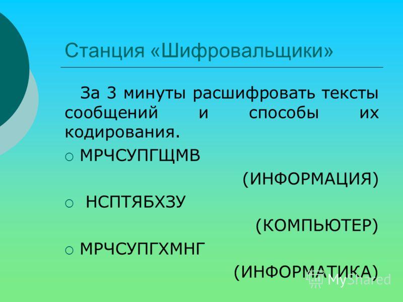Станция «Шифровальщики» За 3 минуты расшифровать тексты сообщений и способы их кодирования. МРЧСУПГЩМВ (ИНФОРМАЦИЯ) НСПТЯБХЗУ (КОМПЬЮТЕР) МРЧСУПГХМНГ (ИНФОРМАТИКА)