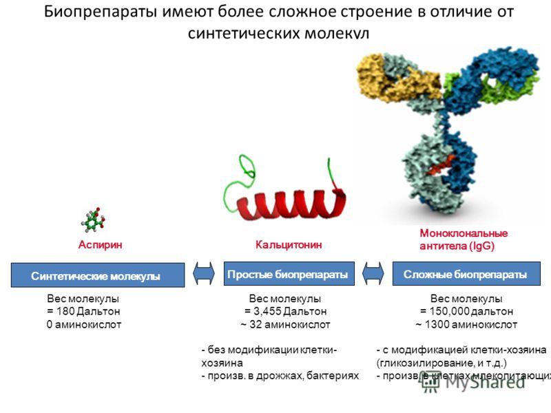 Биопрепараты имеют более сложное строение в отличие от синтетических молекул Моноклональные антитела (IgG) Простые биопрепараты Синтетические молекулы Кальцитонин Сложные биопрепараты Аспирин Вес молекулы = 180 Дальтон 0 аминокислот Вес молекулы = 15