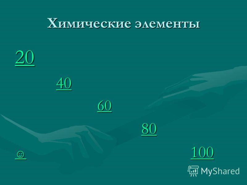 Химические элементы 20 40 40 40 60 60 60 80 80 80 100 100 100 100