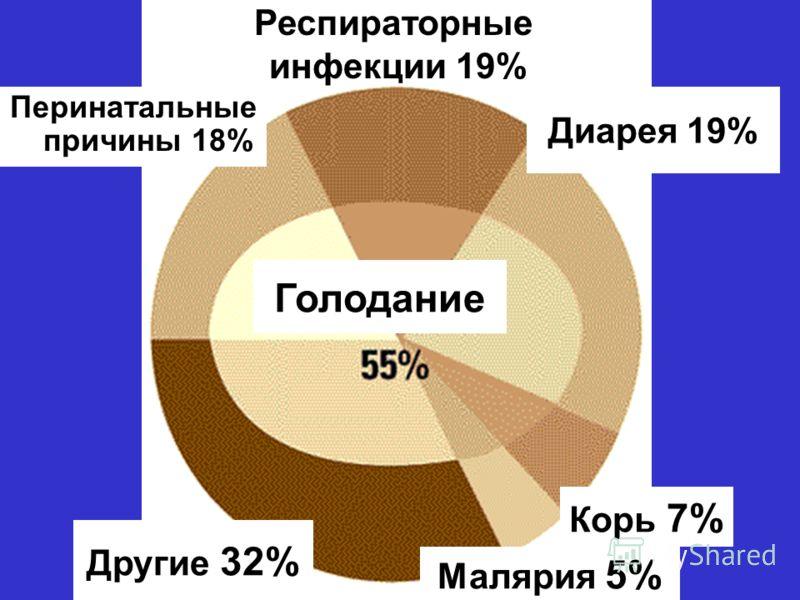 Голодание Перинатальные причины 18% Диарея 19% Корь 7% Малярия 5% Другие 32% Респираторные инфекции 19%