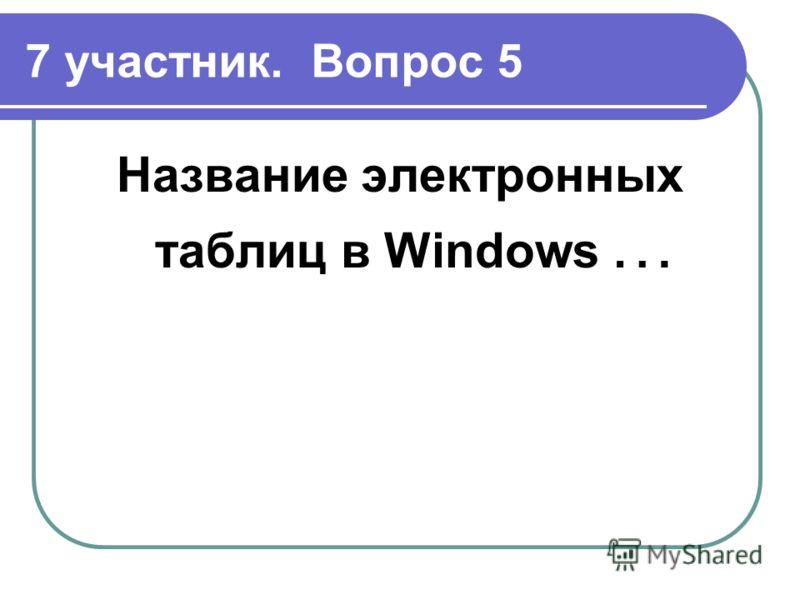7 участник. Вопрос 5 Название электронных таблиц в Windows …