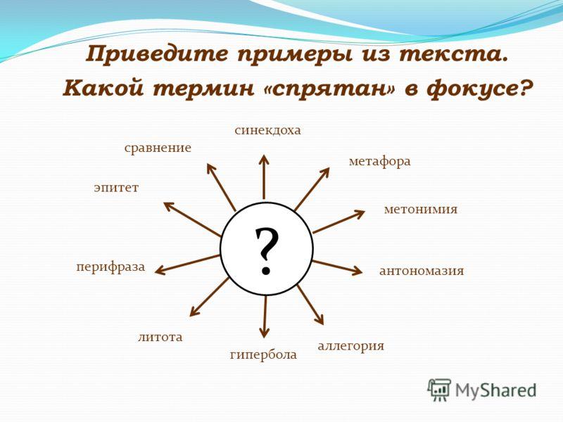 Приведите примеры из текста. синекдоха метафора метонимия антономазия аллегория гипербола литота перифраза эпитет сравнение ? Какой термин «спрятан» в фокусе?