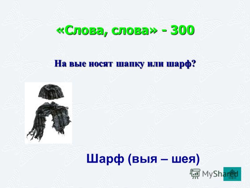 «Слова, слова» - 300 На вые носят шапку или шарф? Шарф (выя – шея)