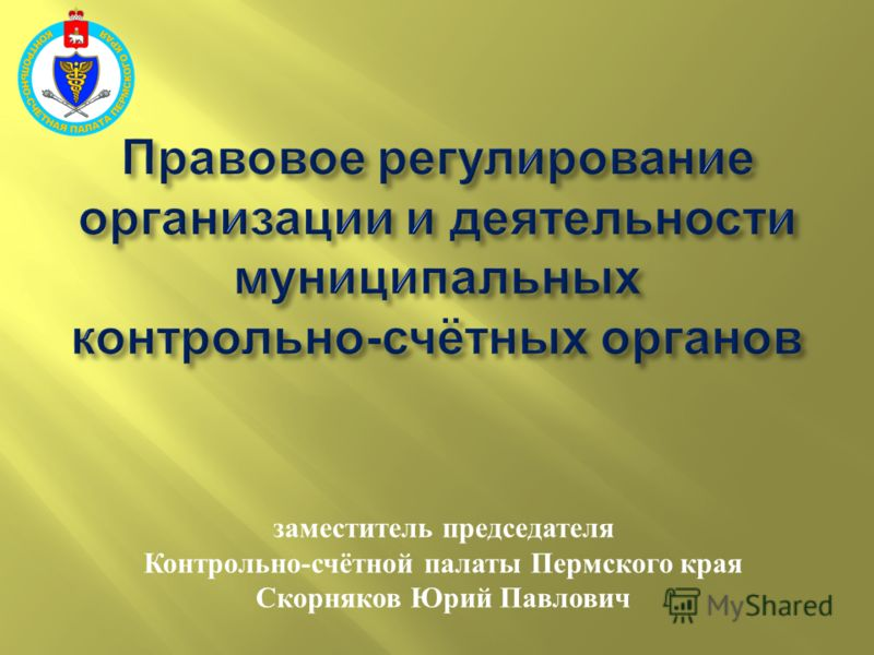 заместитель председателя Контрольно - счётной палаты Пермского края Скорняков Юрий Павлович