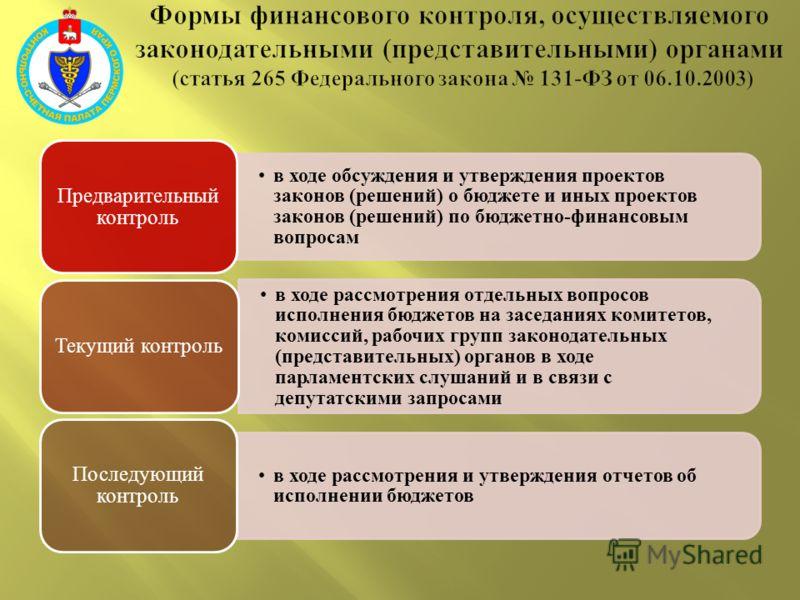 в ходе обсуждения и утверждения проектов законов (решений) о бюджете и иных проектов законов (решений) по бюджетно-финансовым вопросам Предварительный контроль в ходе рассмотрения отдельных вопросов исполнения бюджетов на заседаниях комитетов, комисс
