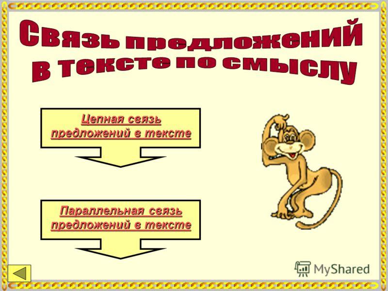 Параллельная связь предложений в тексте Параллельная связь предложений в тексте Цепная связь предложений в тексте Цепная связь предложений в тексте