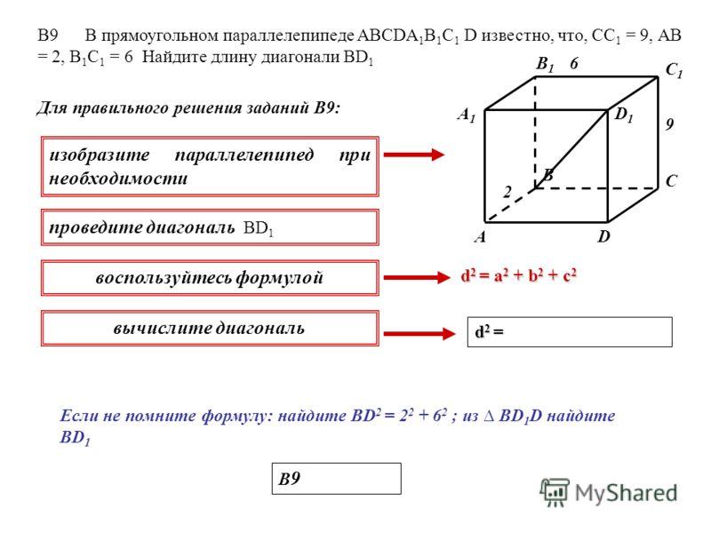 В9 В прямоугольном параллелепипеде ABCDA 1 B 1 C 1 D известно, что, СС 1 = 9, АВ = 2, В 1 С 1 = 6 Найдите длину диагонали ВD 1 Для правильного решения заданий В9: изобразите параллелепипед при необходимости проведите диагональ ВD 1 воспользуйтесь фор
