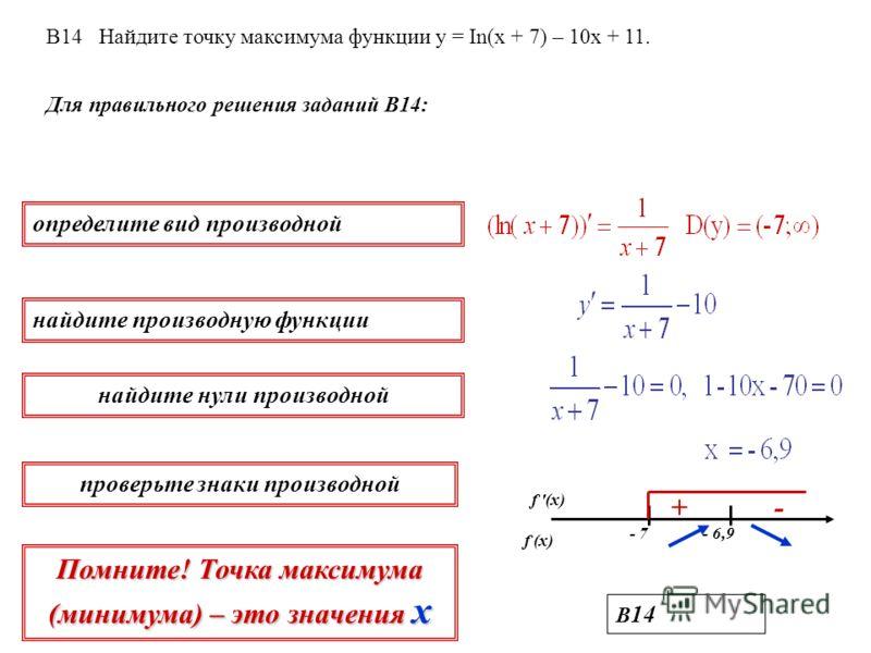 Для правильного решения заданий В14: определите вид производной найдите производную функции найдите нули производной проверьте знаки производной В 14 В14 Найдите точку максимума функции у = In(х + 7) – 10х + 11. f '(x) f (x) - 7 - 6,9 + - Помните! То