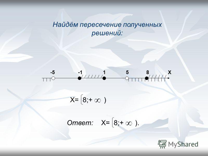 1) + - + -5 5 Х 2) =0 Х=8, Х=1, Х=-1 -1 1 8 Х - + - + Х= -1;1 8 ;+ )