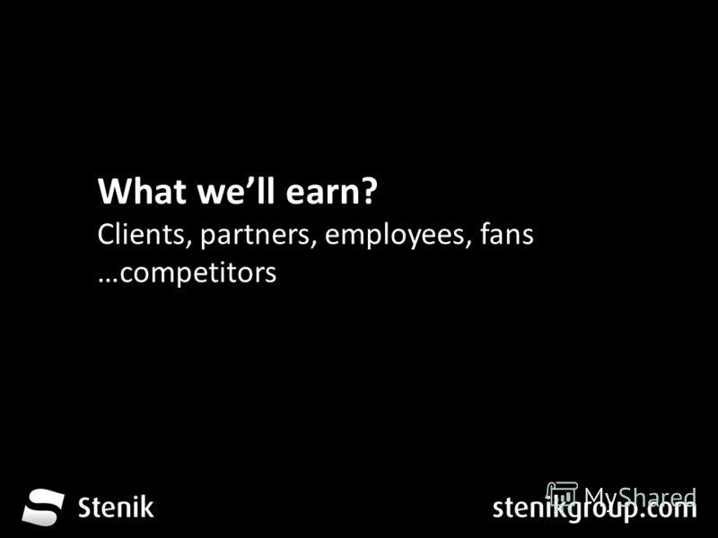За 12 месеца от трета глуха до устите на хората What well earn? Clients, partners, employees, fans …competitors