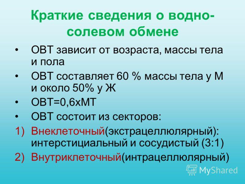 Краткие сведения о водно- солевом обмене ОВТ зависит от возраста, массы тела и пола ОВТ составляет 60 % массы тела у М и около 50% у Ж ОВТ=0,6хМТ ОВТ состоит из секторов: 1)Внеклеточный(экстрацеллюлярный): интерстициальный и сосудистый (3:1) 2)Внутри