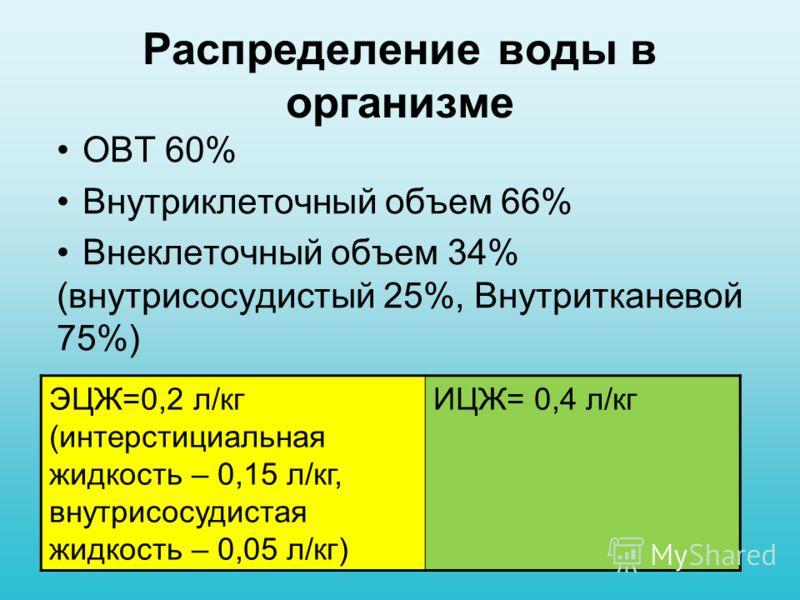 Распределение воды в организме ОВТ 60% Внутриклеточный объем 66% Внеклеточный объем 34% (внутрисосудистый 25%, Внутритканевой 75%) ЭЦЖ=0,2 л/кг (интерстициальная жидкость – 0,15 л/кг, внутрисосудистая жидкость – 0,05 л/кг) ИЦЖ= 0,4 л/кг