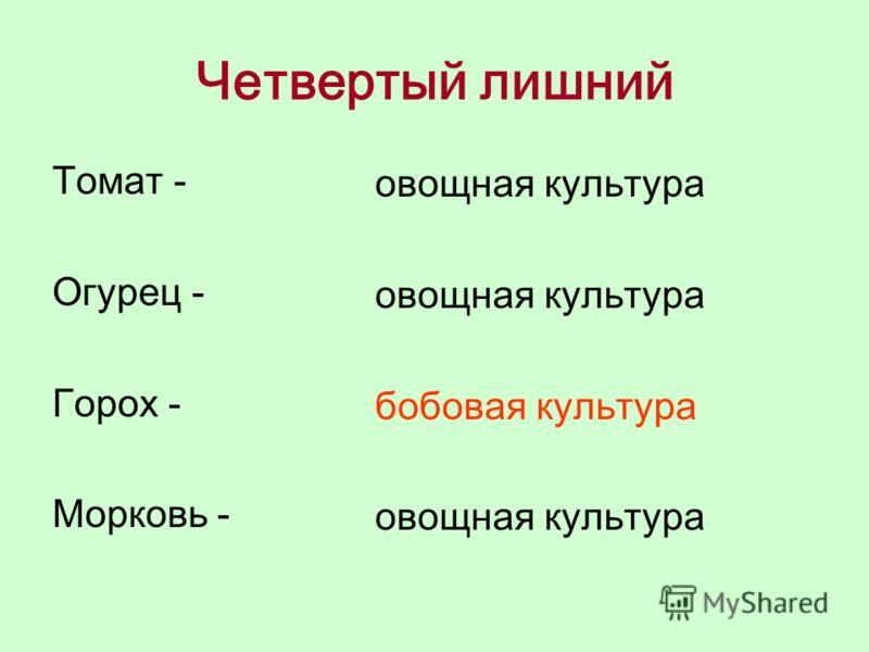 Четвертый лишний Томат - Огурец - Горох - Морковь - овощная культура бобовая культура овощная культура