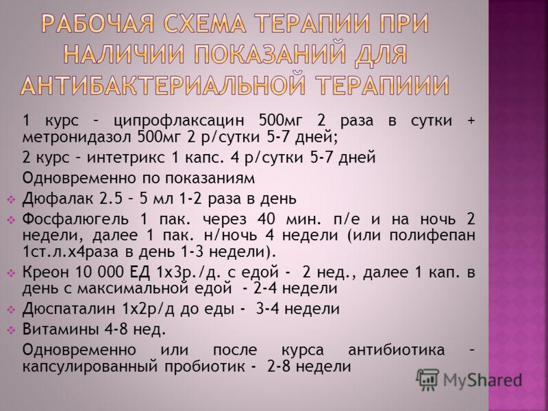 1 курс – ципрофлаксацин 500мг 2 раза в сутки + метронидазол 500мг 2 р/сутки 5-7 дней; 2 курс – интетрикс 1 капс. 4 р/сутки 5-7 дней Одновременно по показаниям Дюфалак 2.5 – 5 мл 1-2 раза в день Фосфалюгель 1 пак. через 40 мин. п/е и на ночь 2 недели,