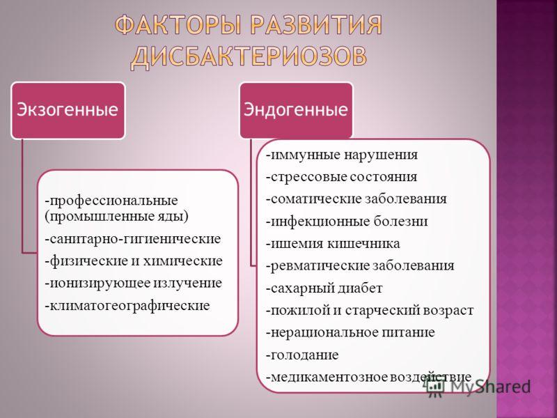 Экзогенные -профессиональные (промышленные яды) -санитарно-гигиенические -физические и химические -ионизирующее излучение -климатогеографические Эндогенные -иммунные нарушения -стрессовые состояния -соматические заболевания -инфекционные болезни -ише