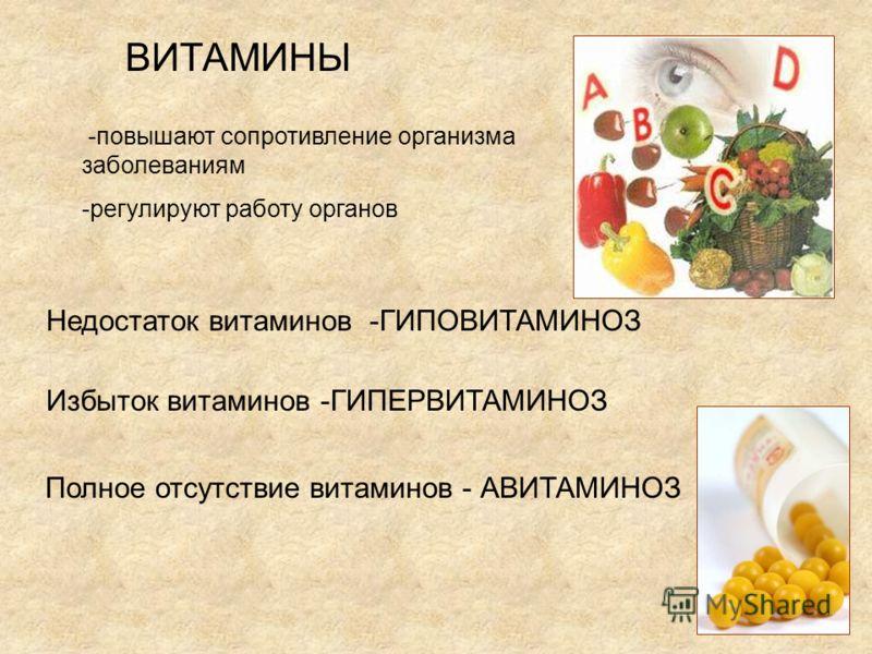 ВИТАМИНЫ -повышают сопротивление организма заболеваниям -регулируют работу органов Недостаток витаминов -ГИПОВИТАМИНОЗ Избыток витаминов -ГИПЕРВИТАМИНОЗ Полное отсутствие витаминов - АВИТАМИНОЗ