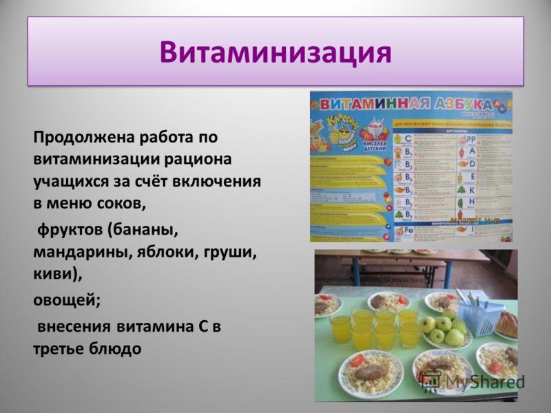 Витаминизация Продолжена работа по витаминизации рациона учащихся за счёт включения в меню соков, фруктов (бананы, мандарины, яблоки, груши, киви), овощей; внесения витамина С в третье блюдо